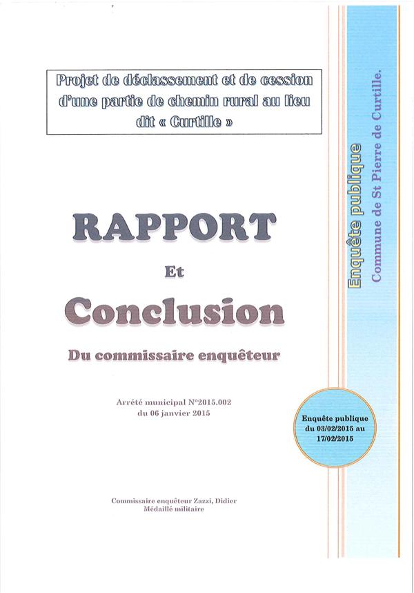 Rapport Enquête Publique 2015 Saint Pierre de Curtille